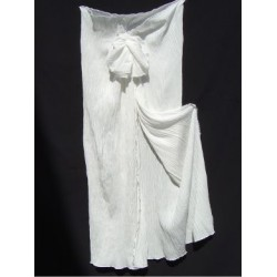 wrinkle crepe silk Ivory Sarong Dress