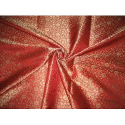 100% Pure Silk Brocade fabric Tomato Red & Gold 44""