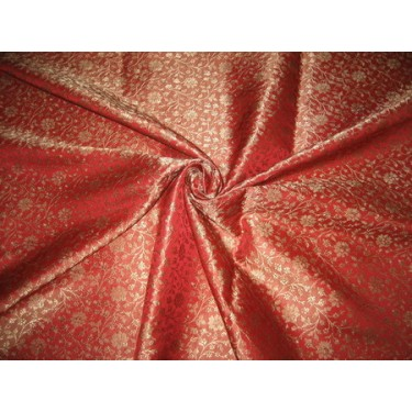 Silk Brocade fabric Tomato Red & Gold 44""