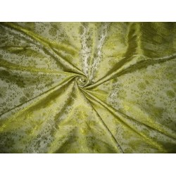 Pure Silk Brocade Fabric Apple Green color 44""
