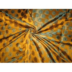 100% Pure Silk Brocade fabric Mustard Gold & Green 44""