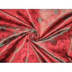 Silk Brocade fabric Wine Red & Green 44""