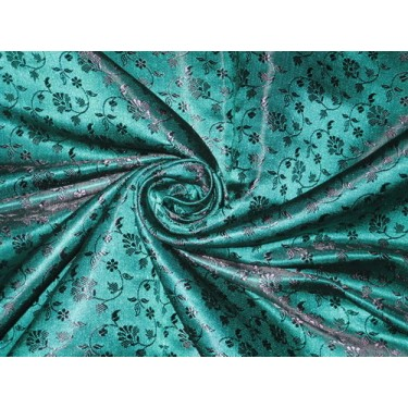 Silk Brocade fabric green & Purple 44""