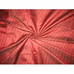 100% Pure Silk Brocade fabric Dark Wine Red & Black 44""