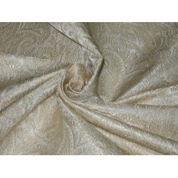 Pure Heavy Silk Brocade Fabric Ivory & Metallic Gold
