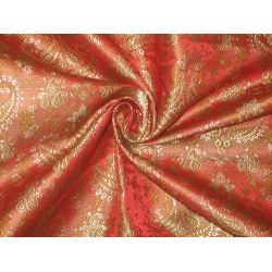 Pure SILK BROCADE FABRIC Redish Orange,Green & Gold 44""