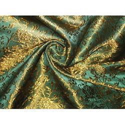 Pure SILK BROCADE FABRIC 2 colors available Green & Red /  green & Mustard Gold 44""