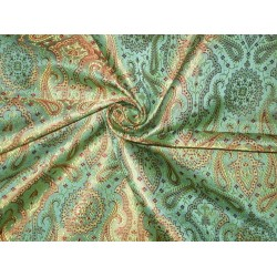 Silk Brocade Fabric Sea Green,Red & Golden yellow