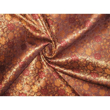 SILK BROCADE FABRIC Maroon & Gold floral design 44
