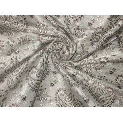 SILK BROCADE FABRIC Grey,Dark Brown & Gold 44""