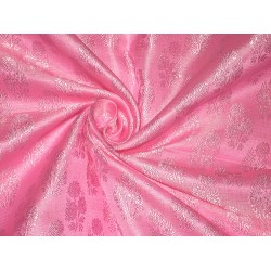 Pure Silk Brocade Fabric Pink on Pink colour 44""