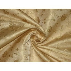 Silk Brocade fabric Light Sand Gold 44""