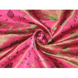 100% Pure Silk Brocade fabric Indian Pink & Green 44""