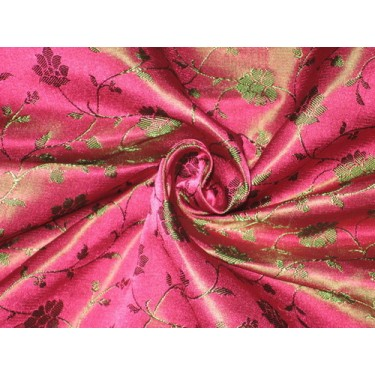 Silk Brocade fabric Indian Pink & Green 44""