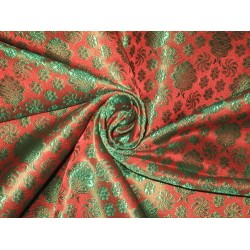 viscose Silk Brocade fabric Dark Orange & Green 44""