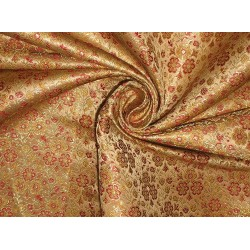 Silk Brocade fabric Red,Gold & Metallic Gold