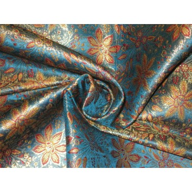 Silk Brocade fabric Red,Blue & Metallic Gold