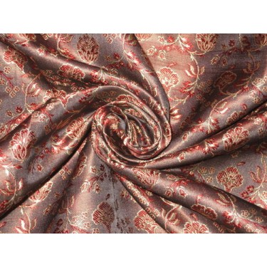 Silk Brocade fabric Dark Brown,Wine & Gold BRO75[3]