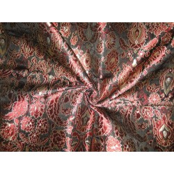 Pure Heavy Silk Brocade Fabric Wine Red,Black & Gold