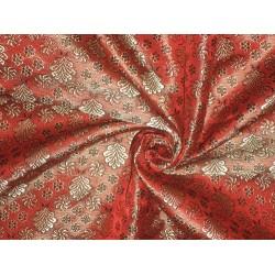 100% Pure SILK BROCADE FABRIC Tomato Red,Gold & Black