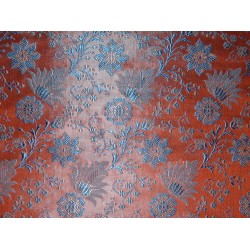 Pure SILK BROCADE FABRIC Orange & Blue 44""