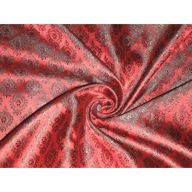 Pretty Pure Silk Broacde Fabric available in 2 colours   Green Colour & #2:Wine Red & Black