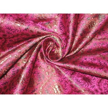 Silk Brocade fabric Pink,Green & Rusty Gold bro75[5]