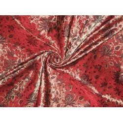 Silk Brocade Fabric Gold,Maroon & Black Floral 44""