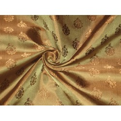 Pure Silk brocade fabric Olive Green & Gold color 44""