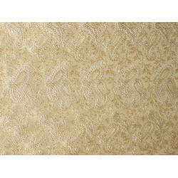 100% Pure SILK BROCADE FABRIC Butter Gold & Ivory 44""