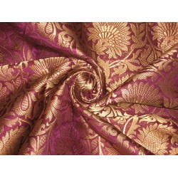 Pure Heavy Silk Brocade Fabric Purple & Antique Gold