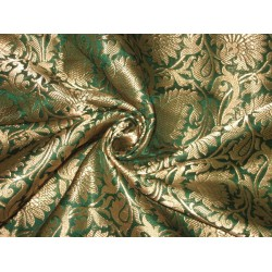 Pure Heavy Silk Brocade Fabric Green & Antique Gold