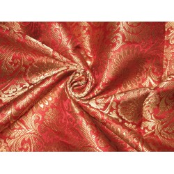 Pure Heavy Silk Brocade Fabric Red & Antique Gold