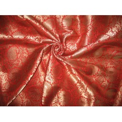 Pure Heavy Silk Brocade Fabric Red & Antique Gold   *