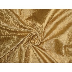 Pure Silk Brocade fabric Light Gold on Gold color 44""