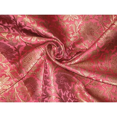 Heavy Silk Brocade Fabric Pink & Antique Gold