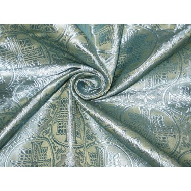 "SILK BROCADE jacquard vestment FABRIC 44"" Butter Gold & Blue BRO81[1]"