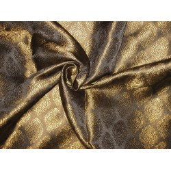 "Silk Brocade Fabric Blackish Brown & Gold 44""  BRO79[6]80[5]"