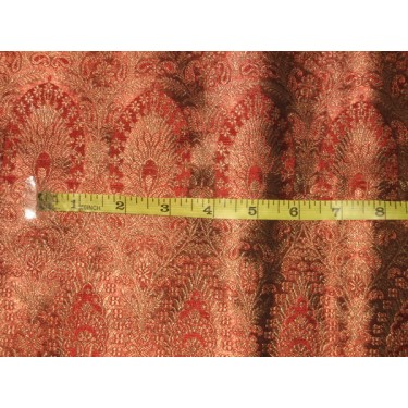 Silk Brocade fabric Red & Antique Gold color 44""