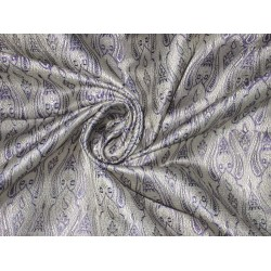 Silk Brocade fabric Silver & Purple Color 44""