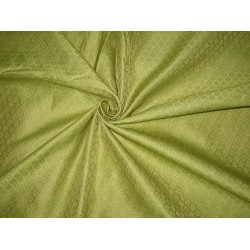 100% Pure SILK BROCADE FABRIC Lime Green & Gold color
