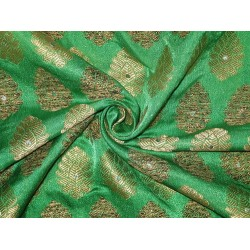 SILK Broacde Fabric Gold & Emerald Green color 44""