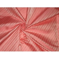 100% Pure SILK BROCADE FABRIC Peachy Pink color 44""