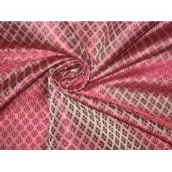 100% Pure SILK BROCADE FABRIC Pinkish Purple,Grey & Red