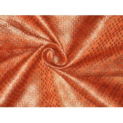 Pure SILK BROCADE FABRIC Gold,Orange & Brown 44""