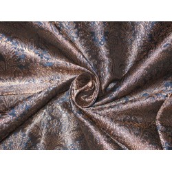 Silk Brocade fabric Blue & Antique Metallic Gold