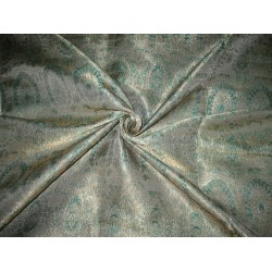 Pure Silk Brocade fabric Sea Green & Metallic Gold 44""