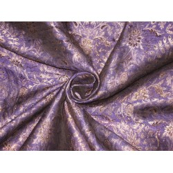 Pure Silk Brocade fabric Purple &Gold 44""