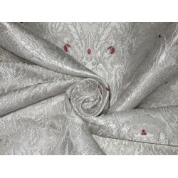 Pure Heavy Silk Brocade Fabric Ivory,Wine & Silver