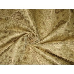 Pure Heavy Silk Brocade Fabric Gold & Metallic Gold
